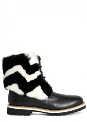 Mr And Mrs Italy Black Fur Embellished Leather Ankle Boots Black And White