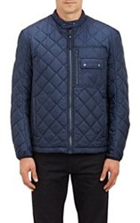 Barneys New York Faux Fur Lined Quilted Tech Jacket Blue