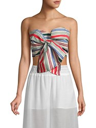Red Carter Perth Striped Strapless Cropped Top Zapata Stripe