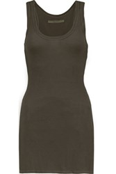 Enza Costa Ribbed Jersey Tank Army Green