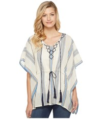 Vince Camuto Embroidered Towel Stripe Tassel Poncho Wedgewood Blue Women's Coat