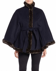 Ellen Tracy Faux Fur Trimmed Belted Cape Navy Blue