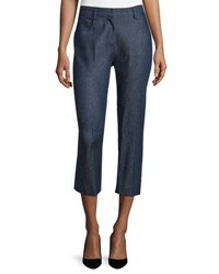 Cnc Costume National Mid Rise Cropped Trousers Blue Denim