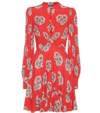 Alexander Mcqueen Floral Printed Jersey Dress Red