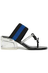 3.1 Phillip Lim Woman Pvc And Ribbed Knit Sandals Black