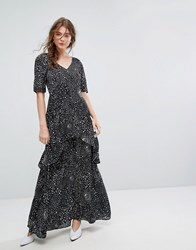 Lily And Lionel Tiered Maxi Dress In Celestial Print Black