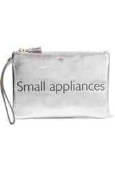 Anya Hindmarch Small Appliances Metallic Textured Leather Pouch Silver