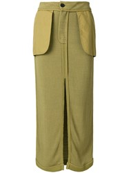 John Galliano Vintage Inside Out Midi Skirt Green