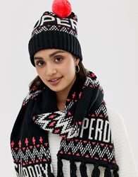 Superdry Chevron Logo Beanie With Bobble Multi
