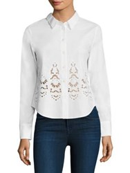 Theory Weylend Embroidered Cotton Poplin Blouse White