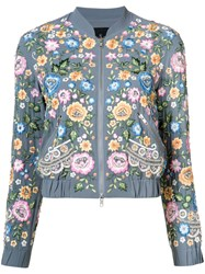 Needle And Thread Floral Bomber Jacket Blue