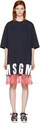 Msgm Navy Lace Hem Logo T Shirt Dress