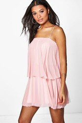 Boohoo Double Layer Mesh Strappy Dress Dusky Pink
