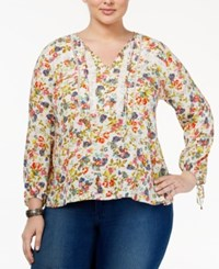 Jessica Simpson Trendy Plus Size Gauze Peasant Blouse French Clusters