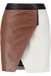 Mason By Michelle Mason Asymmetric Leather Mini Skirt Ivory