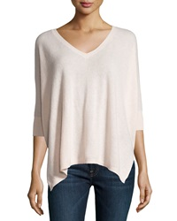 Minnie Rose Cashmere 3 4 Sleeve V Neck Boyfriend Sweater Pink Diamond