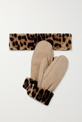 Yves Salomon Leopard Print Shearling Mittens And Headband Set Leopard Print