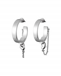 Eddie Borgo Thin Safety Chain Hoop Earrings Gold