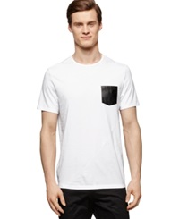 Calvin Klein Faux Leather Pocket Slim Fit T Shirt White