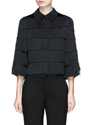 Stella Mccartney 'Tatiana' Tiered Fringe Cropped Silk Shirt Black