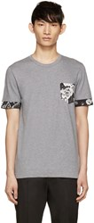 Dolce And Gabbana Grey Floral Pocket T Shirt