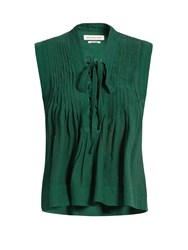Etoile Isabel Marant Kenny Lace Up Sleeveless Top Green