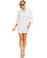Dotti Button Down Shirtdress Cover Up Women's Swimsuit White