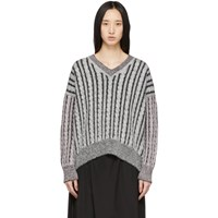 Loewe Grey Wool Cable V Neck Sweater