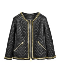 Forzieri Black Quilted Leather W Gold Tone Chain Women's Jacket
