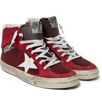 Golden Goose Distressed Leather Suede And Mesh High Top Sneakers