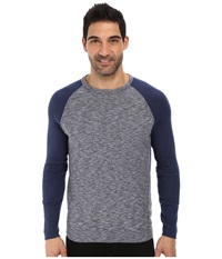 Calvin Klein Jeans Color Block Crew Neck Midnight Indigo Men's Long Sleeve Pullover Blue
