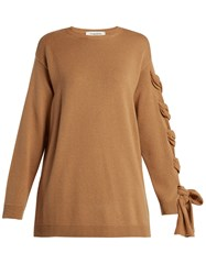 Valentino Laced Cashmere Sweater Camel