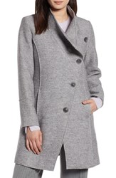 Halogen Boiled Wool Blend Asymmetrical Coat Medium Grey