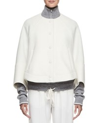 Chloe Snap Front Wool Cape Jacket White