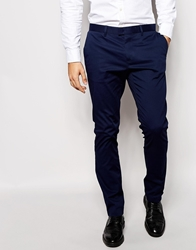 Sisley Cotton Stretch Suit Trousers In Slim Fit Navy01y