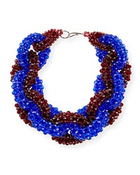 Dries Van Noten Beaded Two Tone Link Necklace Burgundy