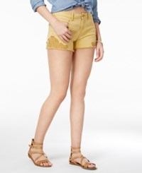 Vanilla Star Juniors' Crochet Trim Denim Shorts Faded Sun