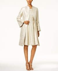 B Michael Metallic Bell Sleeve Topper Evening Jacket Platinum