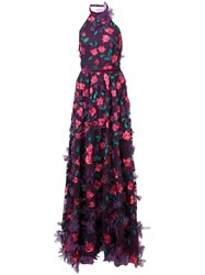Marchesa Notte 3D Floral Halter Neck Gown Pink And Purple