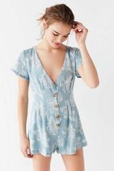 Urban Outfitters Uo Julian Floral Chambray Romper Blue