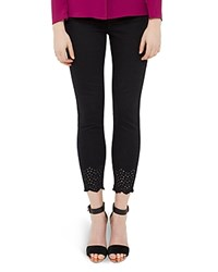 Ted Baker Embroidered Skinny Jeans In Black