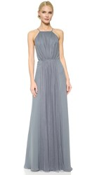Monique Lhuillier Bridesmaids Halter Dress With Tulle Panel Steel