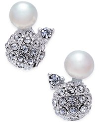 Inc International Concepts Silver Tone Pave Ball And Imitation Pearl Stud Earrings Only At Macy's