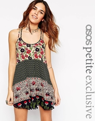 Asos Petite Cami Swing Dress In Vintage Woodstock With Pom Poms Print