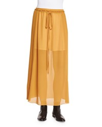 See By Chloe Pleated Georgette Drawstring Skirt Gold Size 42 Fr 10 Us