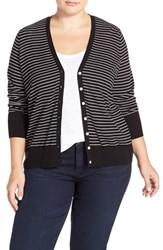 Plus Size Women's Sejour Stripe Cotton Blend V Neck Cardigan