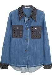 Sonia Rykiel Crystal Embellished Two Tone Denim Shirt Blue