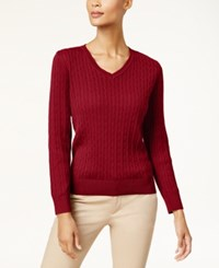 Karen Scott Cotton V Neck Cable Knit Sweater Created For Macy's New Red Amore