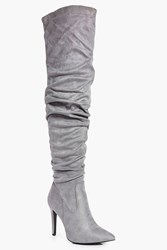 Boohoo Rose Ruched Pointed Over The Knee Boot Grey