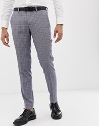 Esprit Slim Fit Suit Trouser In Grey Pop Glenn Check